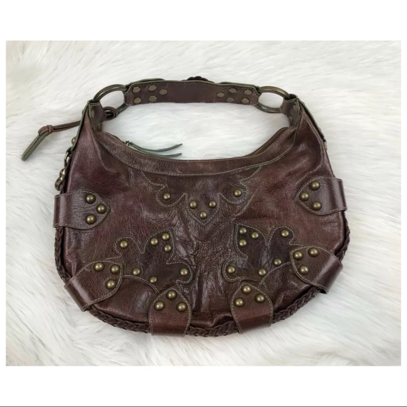 6d237fbf80 Isabella Fiore Bags | Oasis Brown Studded Leather Hobo | Poshmark